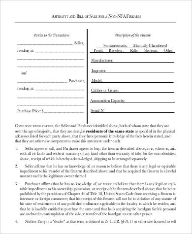 basic firearm bill of sale