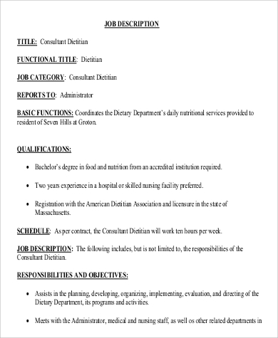 Sample Dietitian Job Description - 9+ Examples In Word, Pdf