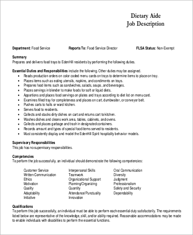 dietitian aide job description