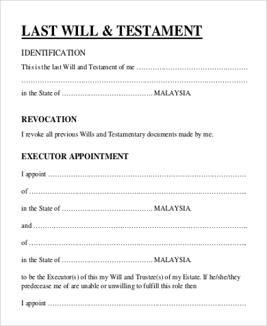 Simple Will Forms Sample Templates - Simple legal documents