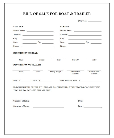 Sample Boat Bill of Sales - 9+ Free Sample, Example Format ...
