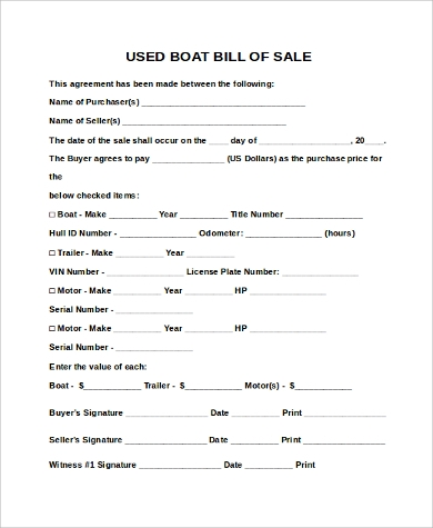 Sample Boat Bill Of Sales   Free Sample Example Format Download