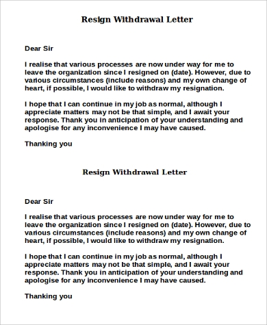 resign withdrawal letter sample