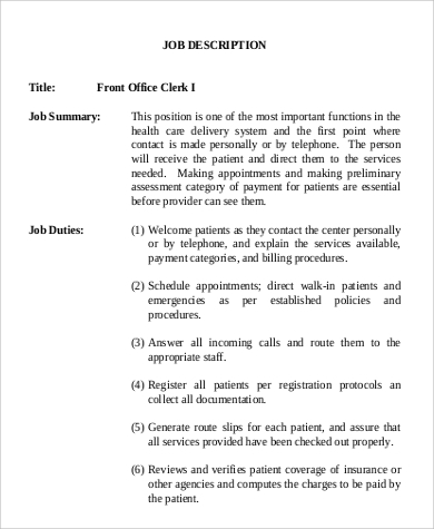 Sample Office Clerk Job Description   Examples In Word Pdf