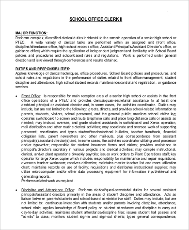school office clerk job description