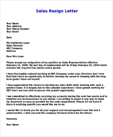 sales resign letter example