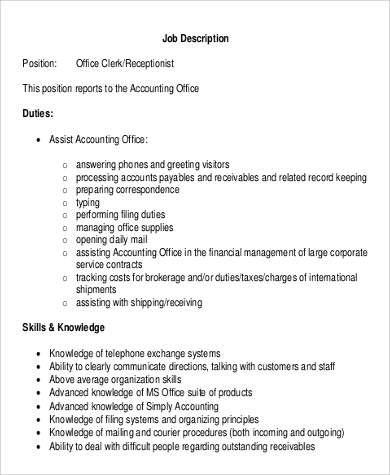 Sample Office Clerk Job Description - 9+ Examples In Word, Pdf