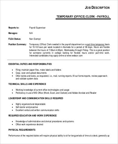 temporary office clerk job description