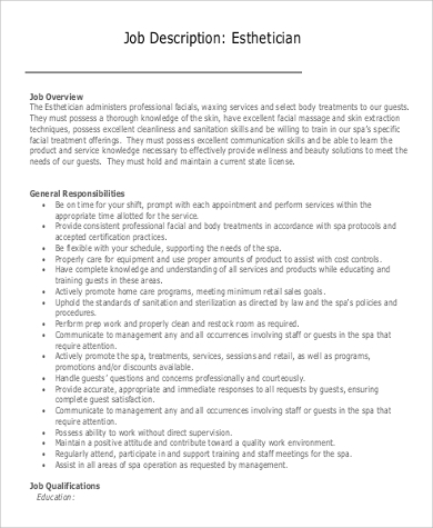 esthetician job description responsibilities