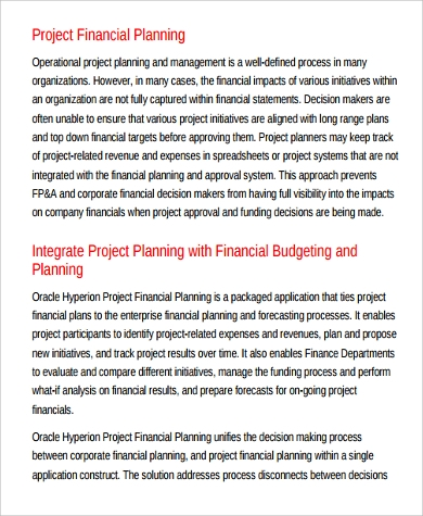 Project Plan Example   Samples In Word Pdf