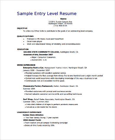 entry level job resume