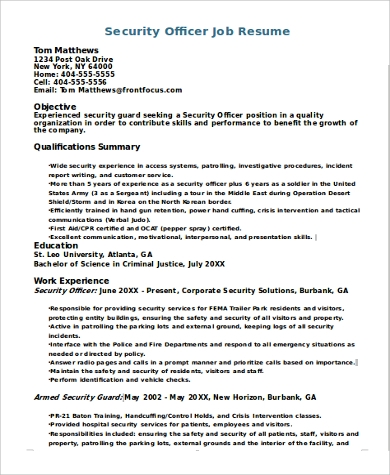 security officer job resume