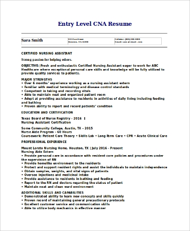 Entry Level Cna Resume