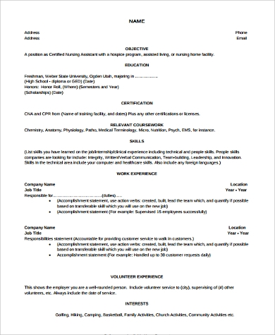 Sample Cna Resume   Examples In Word Pdf