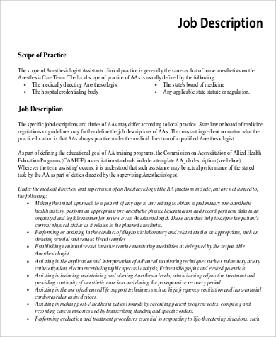 Anesthesiologist Job Description   Free Documents In Pdf