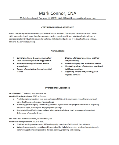 cna resume skills 9 cna resume samples sample templates 20878