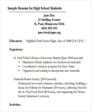 Sample Resume For High School Student   Examples In Word Pdf