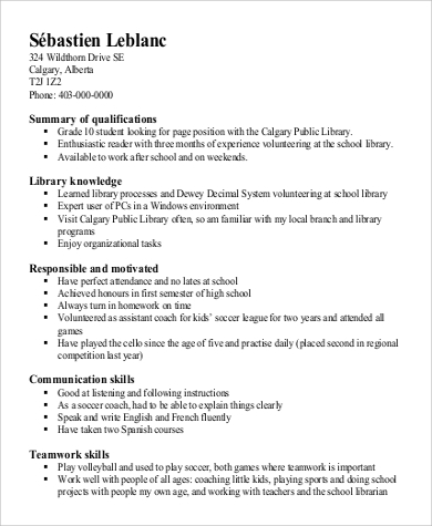 Sample Resume for High School Student