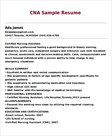 Sample CNA Resume - 9+ Examples in Word, PDF