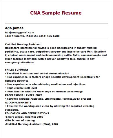 Cna resume templates solarfm free resume templates for cna resume template yelopaper Images