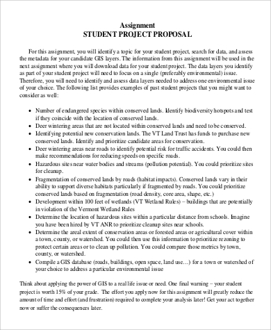 Student Project Proposal  Example Of Project Proposal Used