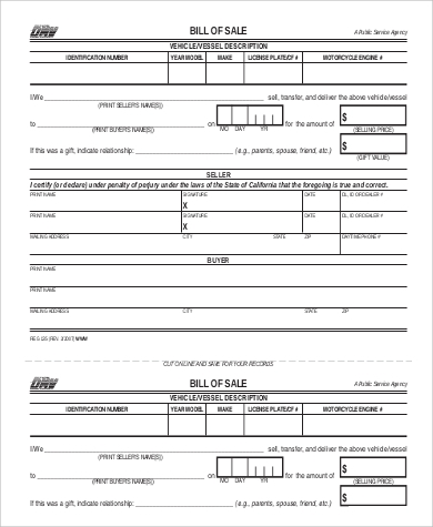 motorcycle bill of sale example