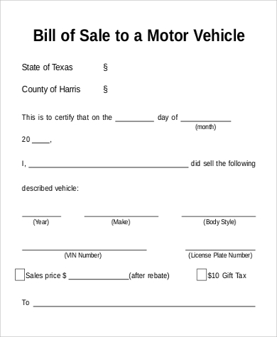 Sample Motorcycle Bill Of Sales   Free Sample Example Format