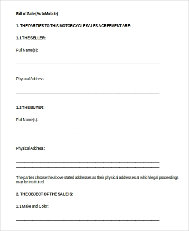 automobile bill of sale form to download