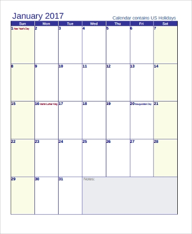 printable monthly holiday calendar sample1