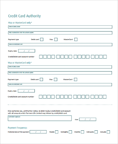 generic credit card authority form
