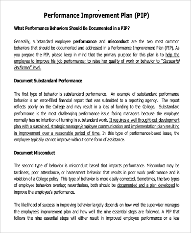 Performance Improvement Plan Example   Samples In Word Pdf