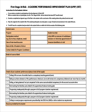 Student improvement plan template image collections for Student improvement plan template