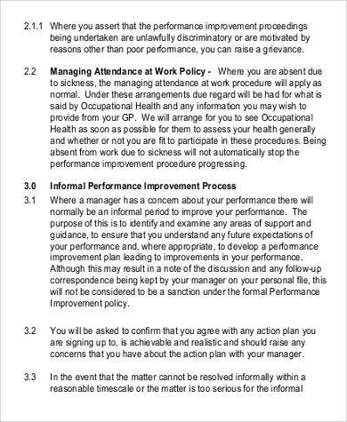 formal performance improvement plan