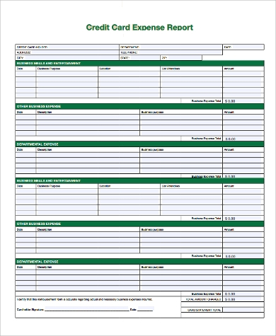 credit card expense report form