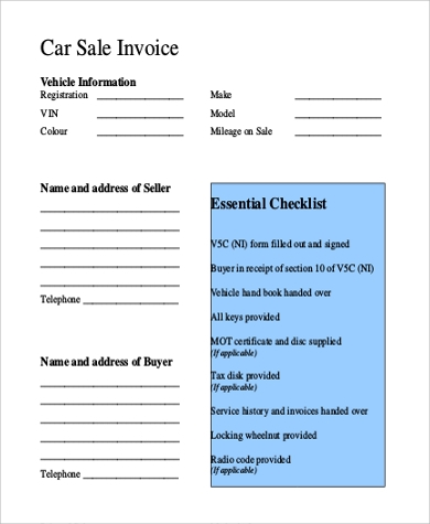 Car Sale Invoice Example  Sales Invoice Example