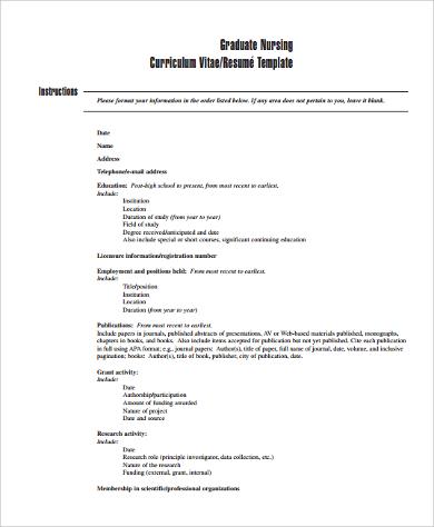 curriculum vitae format nursing