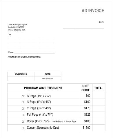 sales ad invoice form
