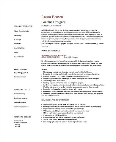 graphic designer curriculum vitae format