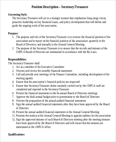 treasurer secretary job description in pdf