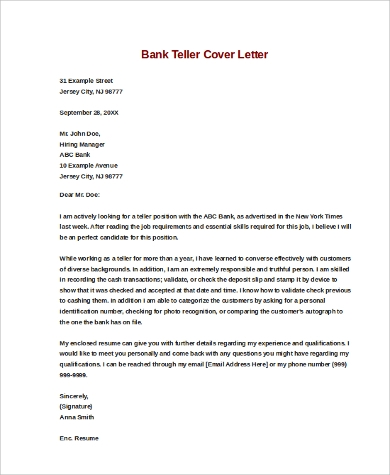 bank teller cover letter 9 sample cover letters for sample templates 1087