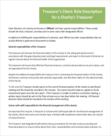 charity treasurer job description