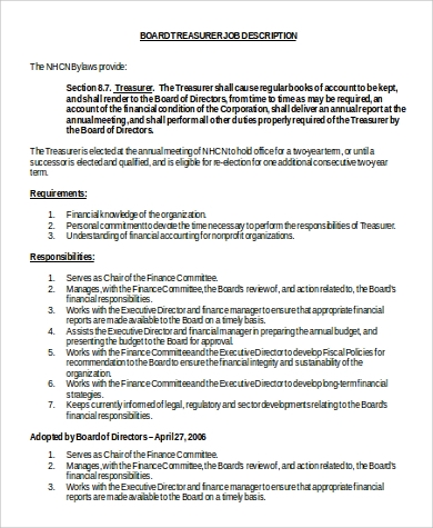board treasurer job description in word
