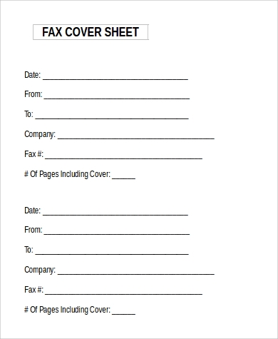 Generic Fax Cover Sheet Microsoft Word