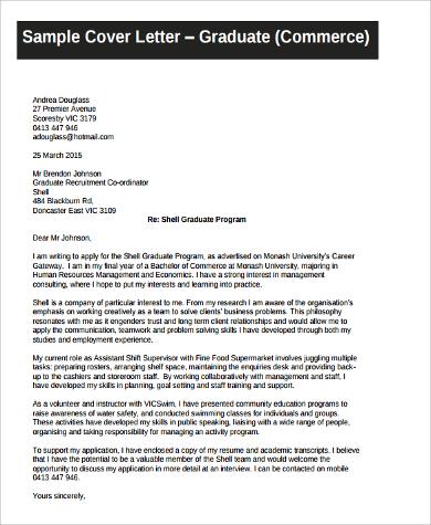 graduate resume cover letter