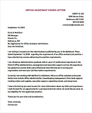 example office assistant resume cover letter