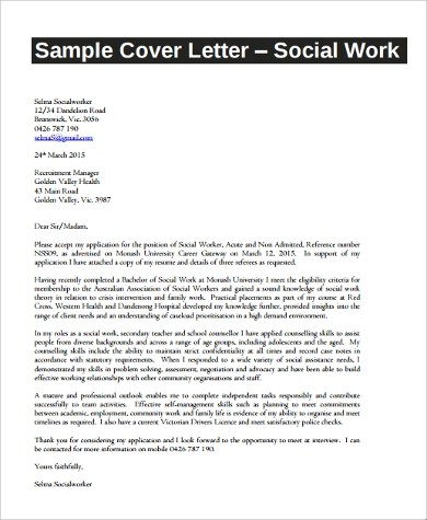 social work resume cover letter