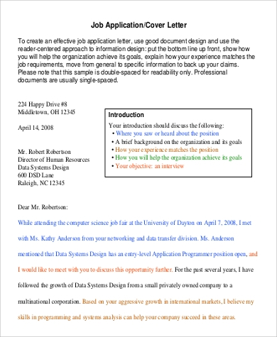 Job Cover Sample Letter - 8+ Examples In Word, Pdf