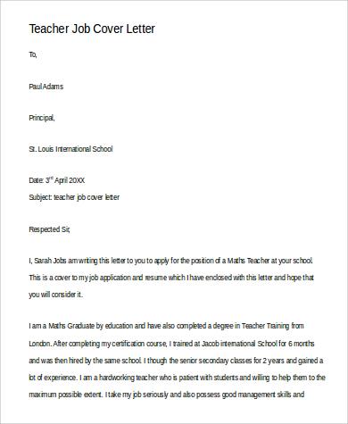 cover letter for teacher job