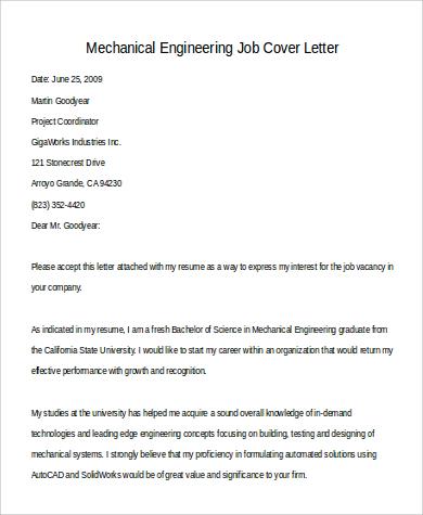 cover letter for mechanical engineering job