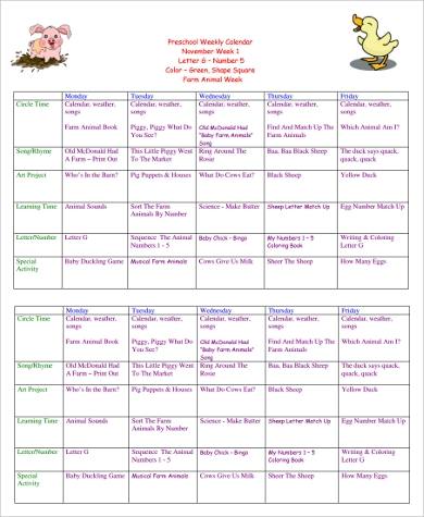 printable preschool weekly calendar